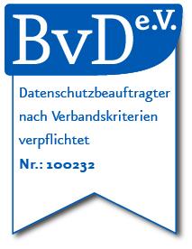 Siegel: BvD e.V. Datenschutzbeauftragter nach Verbandskriterien verpflichtet